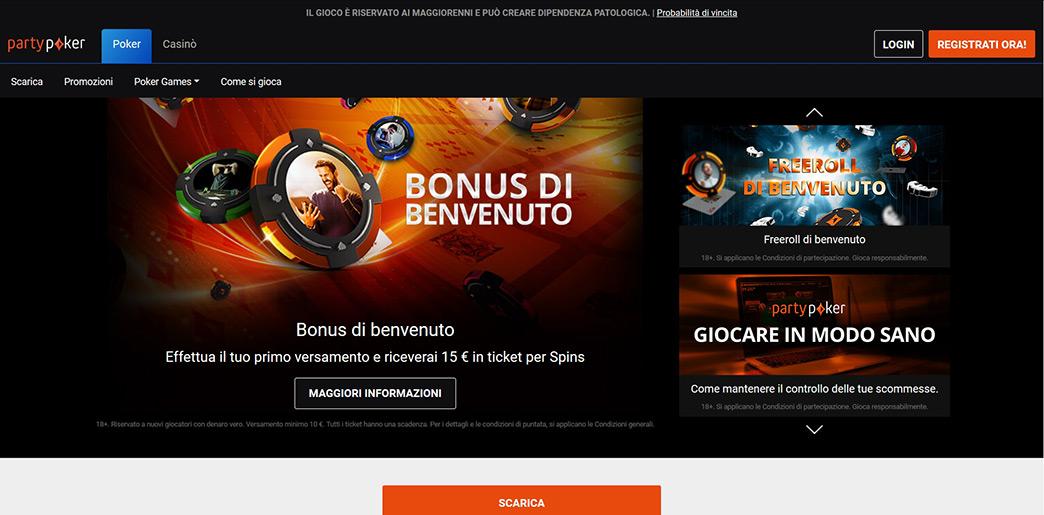 Итальянская версия сайта partypoker.